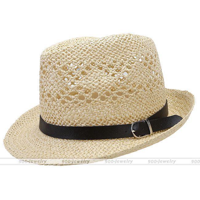 Summer Beach Hats Trilby Floppy Fedora Straw Wide Brim Sun Hat For Men Women #02 #HatsForWomenFloppy