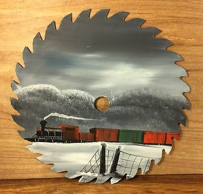 hand painted circular saw blade Winter Snow Train Cars country Cabin Lodge Decor