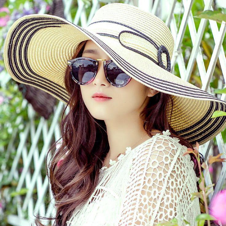 Black striped wide brim sun hat for women summer UV sun hats portable