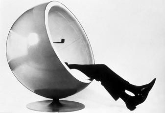 Eero Aarnio's 1960's ball chair.  Once seated, escape to your own groovy world.... #1960 #sixties #sixtiesinteriordesign #furniture