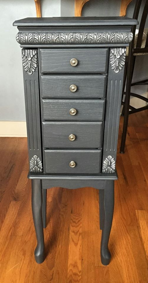 Jewelry Armoire painted in AS Graphite and silver hightlights https://www.facebook.com/fancythatfurnishings