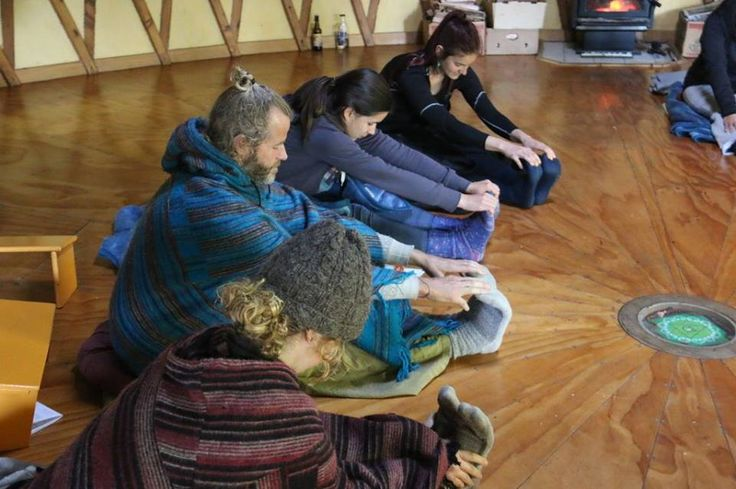 Stretch and stay warm before morning chanting. It's winter on the mountain this time of year #morningchanting #anahatayogaretreatnz