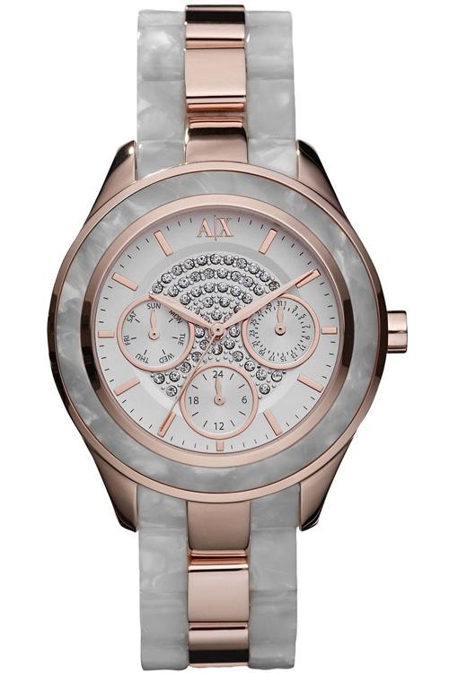 Armani Exchange Ladies Stone Set Rose Gold Tone Watch AX5154: A X Armani, Bracelets 38Mm, Pave Watches, Armani Exchange, Stainless Steel Bracelets, Gold Ton, Exchange Watches, Bracelets Watches, Rose Gold