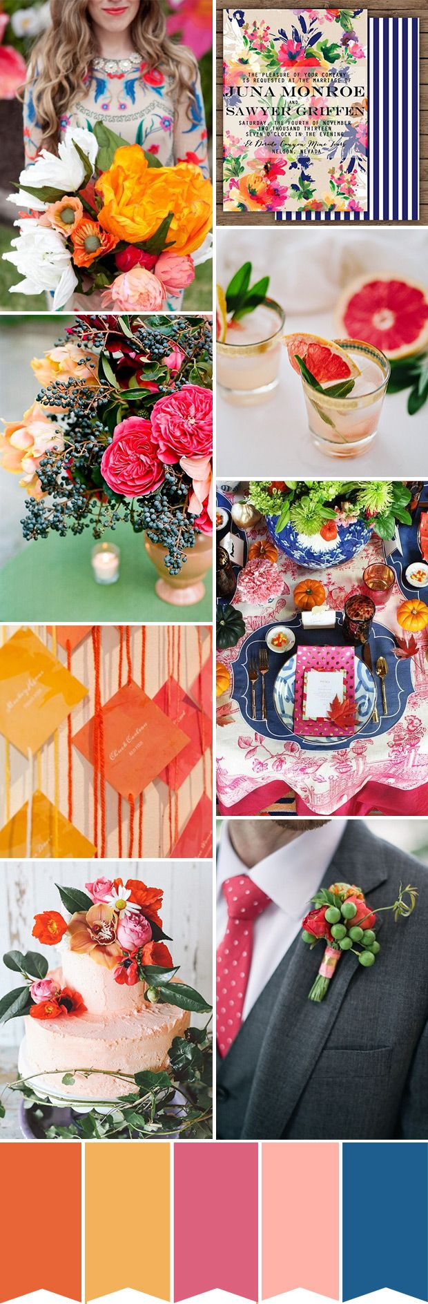 Color pop! Eclectic Orange Pink and Blue Wedding Colour Palette | Colores Pop; naranja, rosa y azul | #wedding #boda #paletacolores