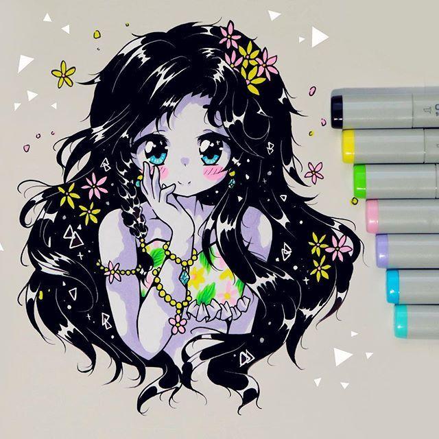 Gorgeous Anime Drawing By Kiricheart Using Their Chameleon Pens Chameleonpens Pen Marker Alcoholmarkers Markerpen Colour Anime Art Anime Drawings Art