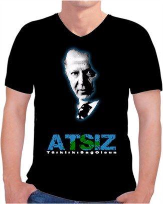 Erkeklere özel Turancı! Hüseyin Nihal ATSIZ tişörtü Kendin Tasarla - Erkek V Yaka Tişört