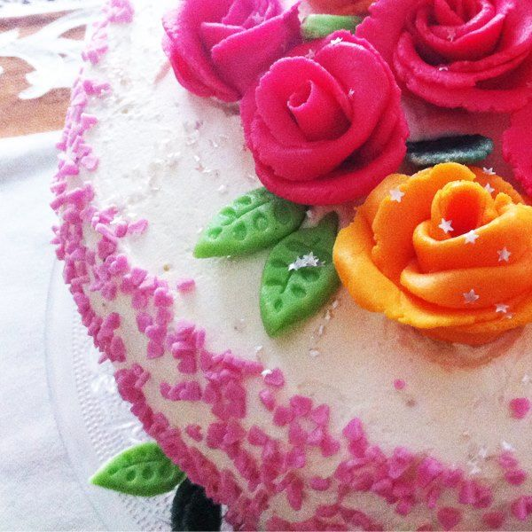 Rose Bouquet Cake by LenaFusion. Roses and leaves all hand-made.
