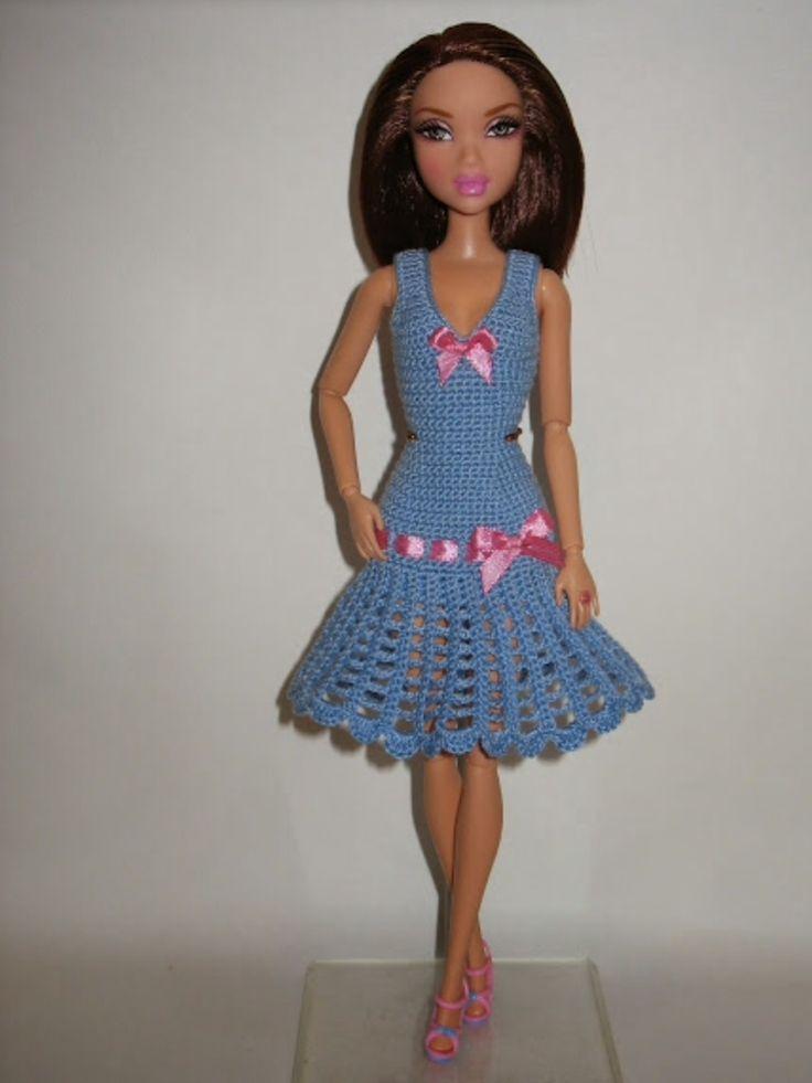 vestido sencillo barbie crochet