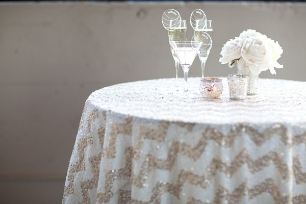 be still our sparkle loving hearts. it's chevron sequin table linens by http://linens.latavolalinen.com/  Photography by ykvision.com, Styling and Floral Design by zestfloral.com
