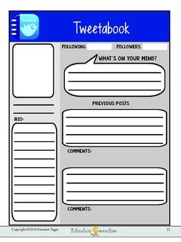 Character Study Tools And Templates Including A Social Media Template Dossier Kids Can Make Profile For In Novel