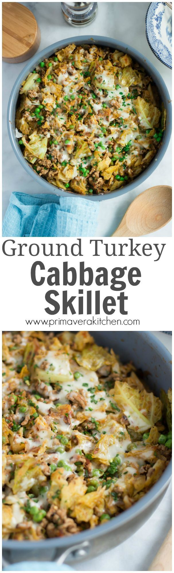 Ground Turkey Cabbage Skillet - This very easy Ground Turkey Cabbage Skillet recipe is perfect for a quick dinner during the week cause it takes less than 30mins to be ready! It is also gluten-free and very flavourful.