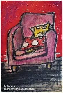 le fauteuil... pastel à l'eau et feutres Molotow . Nathalie monnatelier.blogspot.fr