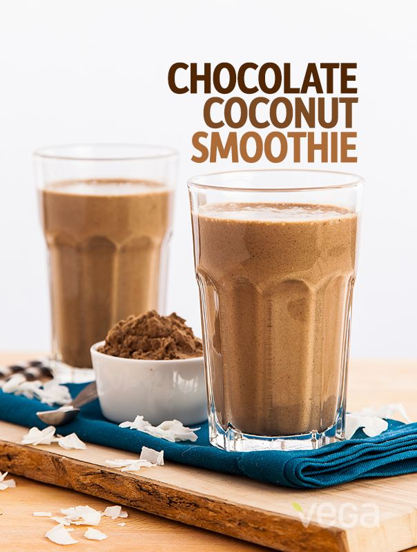 Chocolate Coconut Smoothie: We've yet to meet a chocolate smoothie that we didn't like, but by teaming this favorite up with coconut, we've created a real chocolate coconut smoothie champion. Bump up the antioxidants and chocolatey goodness by adding some cocoa powder and help this contender take home the gold! #VegaSmoothie #BestSmoothie