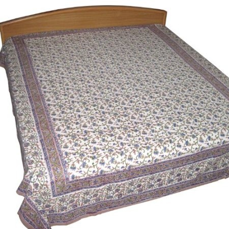 Cotton Bed Sheet Green and Brown Flower Printed from India