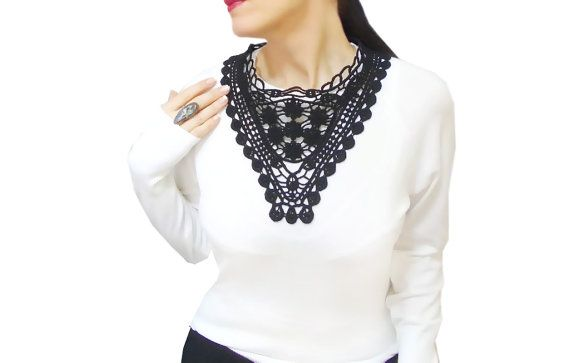 Black statement lace necklace French Lace necklace by HAREMDESIGN