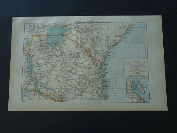 German East Africa map 1899 original old antique by VintageOldMaps