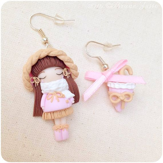 Orecchini Sweet Rain ~Cute Earrings Fimo Polymer Clay Kawaii Pink Umbrella Kawaii Doll Bow Fiocco Pioggia Bambolina Inverno Regalo Romantico