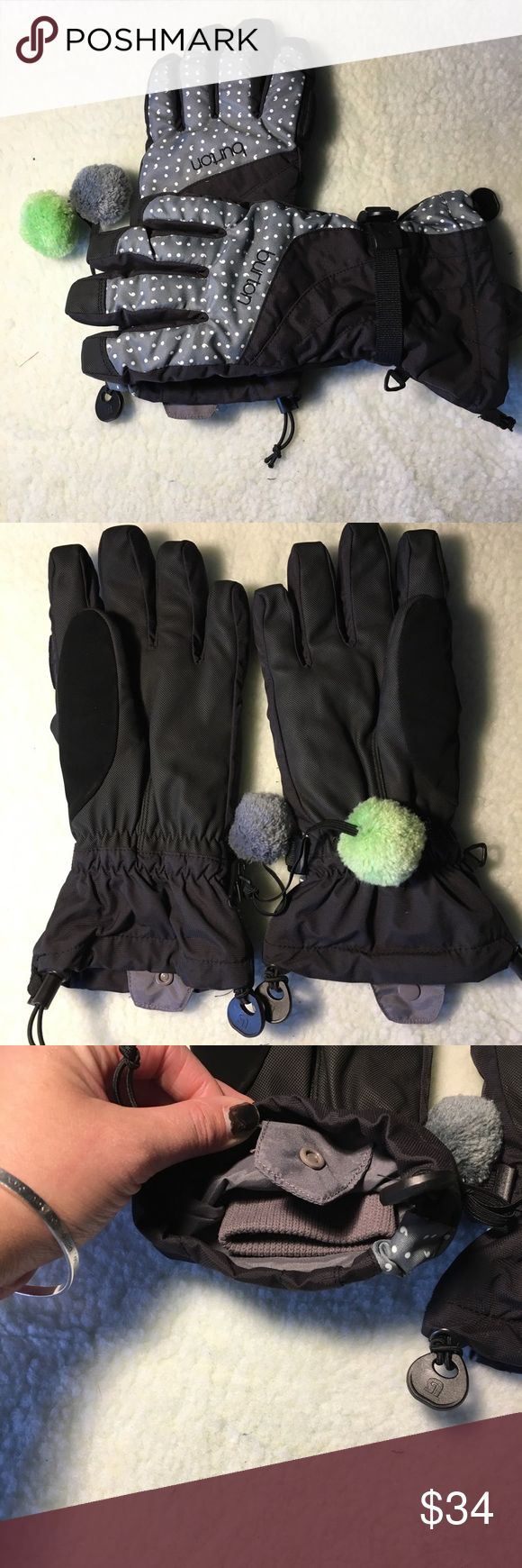 Burton Pom Pom polka dot snowboard gloves EUC medium burton snowboarding gloves with Pom Poms and polka dots. Has snap closure to secure to jacket with ribbed inner glove- super warm. Make offer free gift with purchase bundle and save Burton Accessories Gloves & Mittens