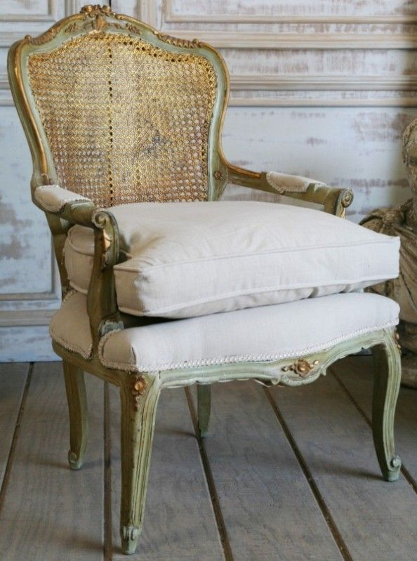 Antique French Chair - Pale Green and Gold