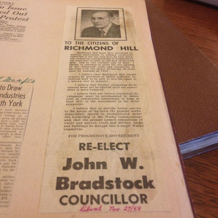 We are in the thick of #Elections2014 so it's fitting that our #ThrowBackThursday posting ties in to that. Here's a 1958 campaign ad published in the Richmond Hill, Ontario newspaper, The Liberal.