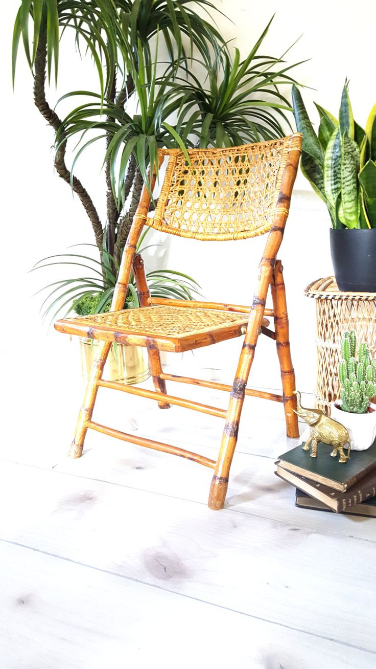 Kids Nursery Chair ~ Scorched Bamboo Frame Folding Chair with Rattan Seat and Back ~ Boho Home Decor by LUCKYHOMEFINDS on Etsy