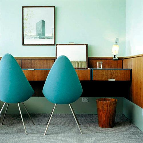 Arne Jacobsen  The drop chair  molded fiberglass shell with latex foam glued on   difficult to produce because upholstery must fit exactly