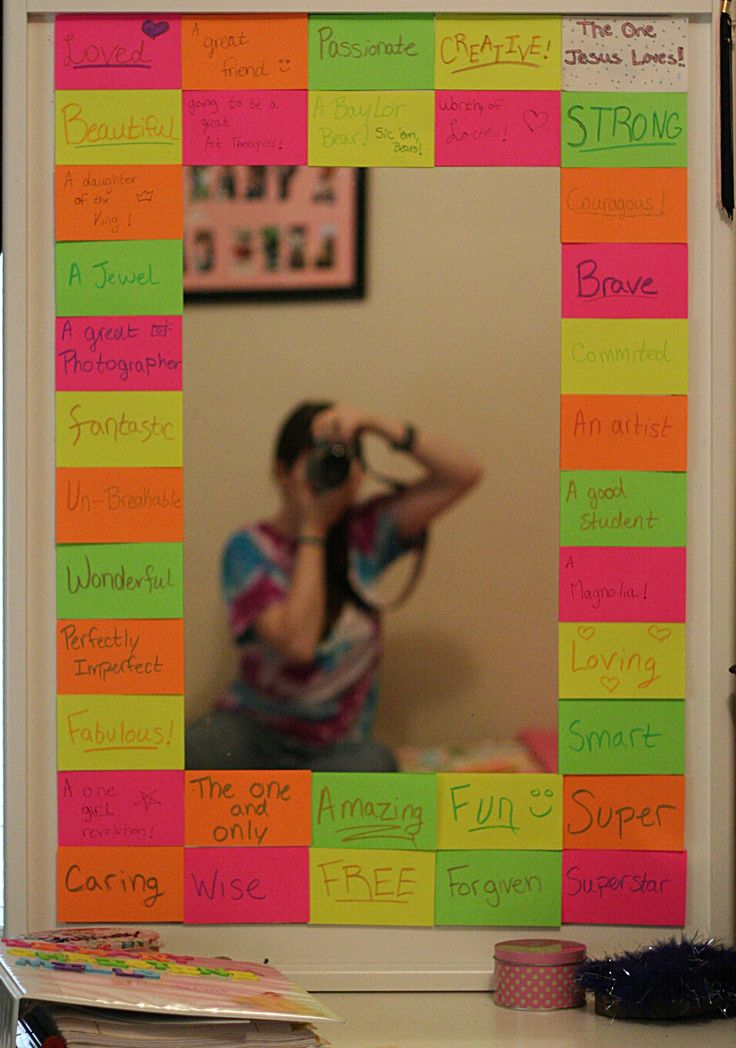 I decorated my mirror with positive self talk... it rocks!