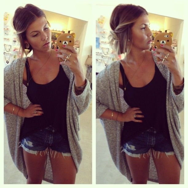 Cardigan with plain tank top and jean shorts