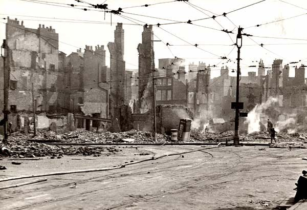 Liverpool - Lord Street and Castle Street in the City Centre was severely damaged. 3/4 May 1941