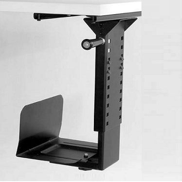 Glide Extending and Swivelling CPU Holder.  Glide Extending and Swivelling Office CPU Holder will complement office desks, workstations, reception counters and training room tables.