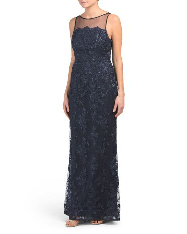 184c6a045fa Illusion Top Embroidered Gown - Formal - T.J.Maxx