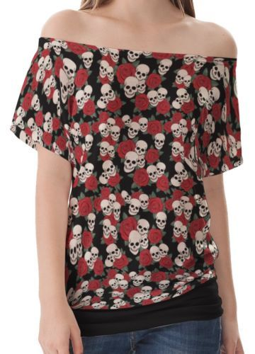 Black-Skulls-And-Roses-Pattern-Women-Sexy-Top-Shirt-Blouse-Off-Shoulder