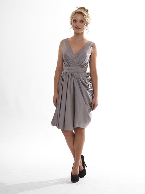 Asymmetric full skirt with elegant cross over front. Very cool for bridesmaids or even mother of the bride! Tanya $240  #eveningwear #ballgowns #bridesmaids #wedding #bridal #gown