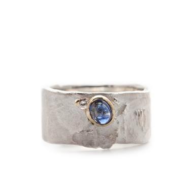 Ring zilver diamant saffier | Wim Meeussen Goudsmid Antwerpen