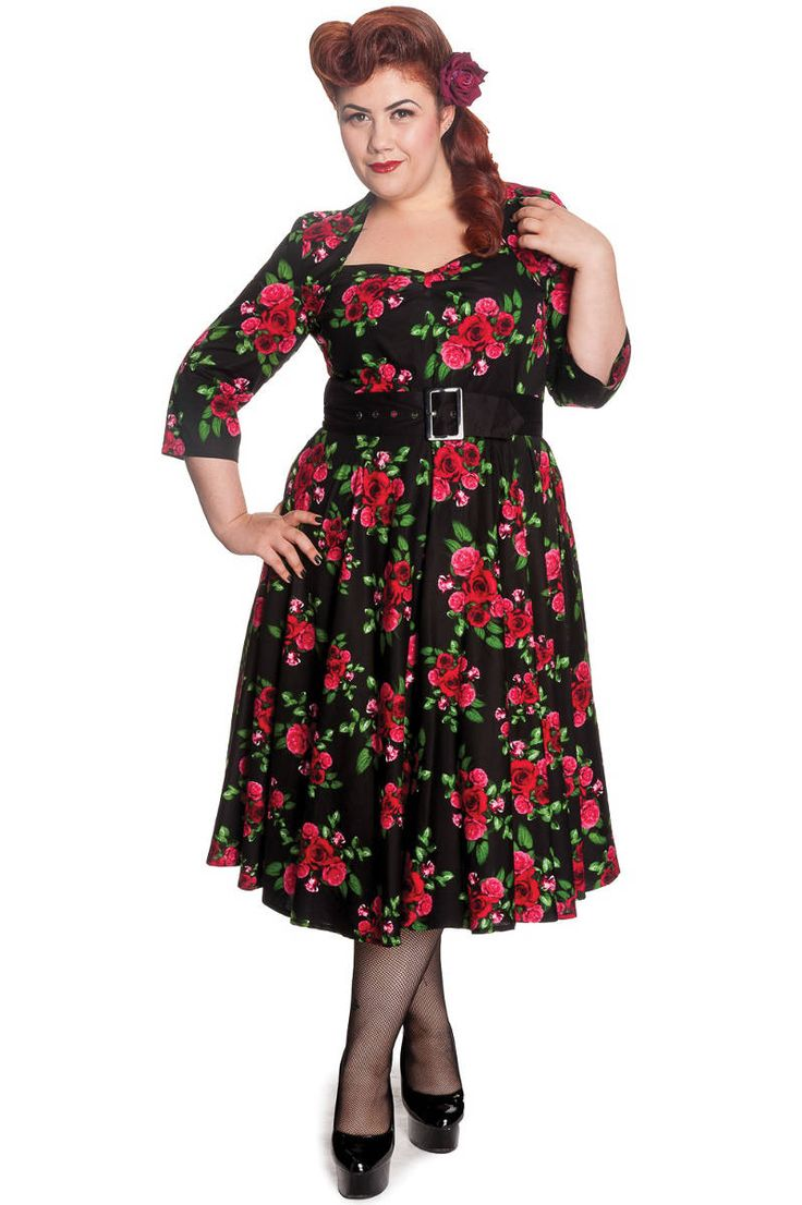 Plus Size Vintage Eternity 50s Dress - Black and Red