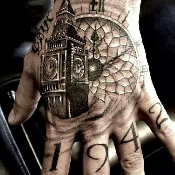Hand tattoo clock face and big ben: Tattoo Ideas Hand Tattoos Nic ...