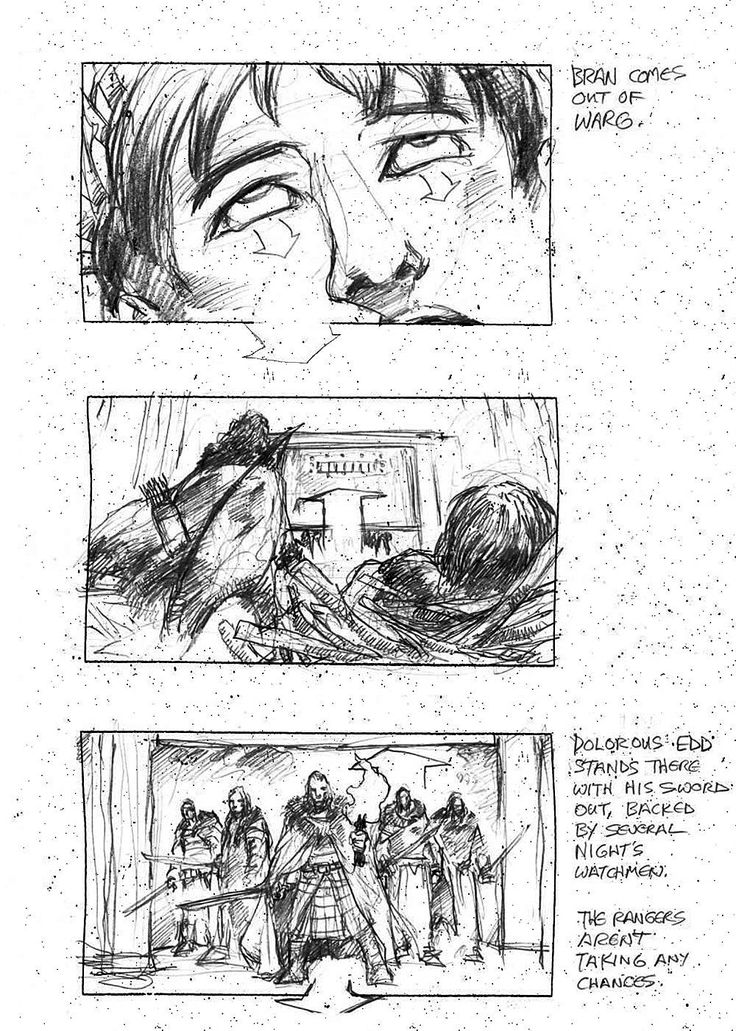 Check out the storyboard for the scene where Bran arrives