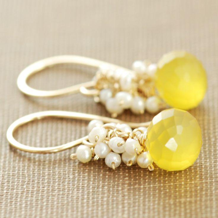 Yellow Gemstone Pearl Earrings in 14k Gold Fill by aubepine
