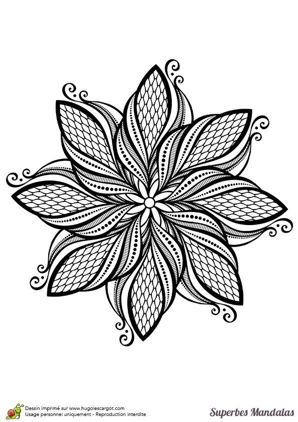 Coloriage d'un superbe mandala de feuille stylisée - Hugolescargot.com