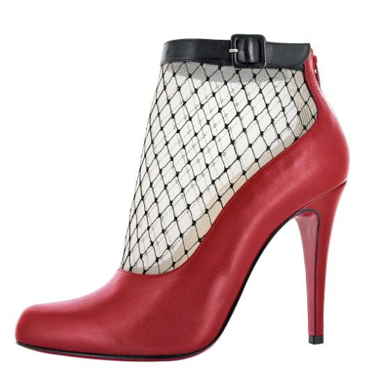 Christian Louboutin Red Leather & Mesh Ankle Boots #CL #Louboutins #Shoes #Booties with <3 from JDzigner www.jdzigner.com