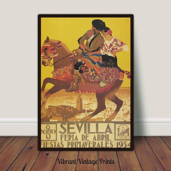 Sevilla Spain Horse Romance Vintage Travel Poster