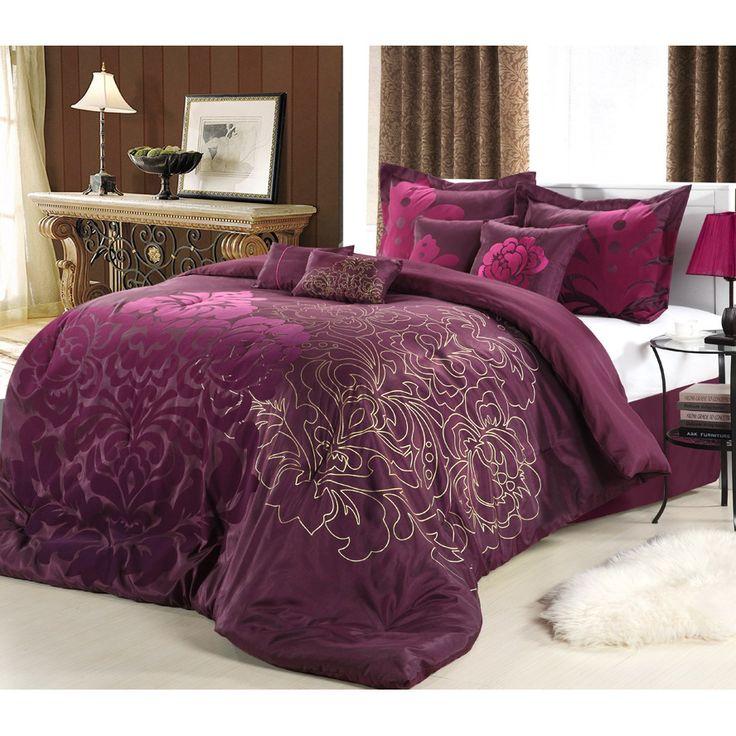 Lakhani 8 piece plum comforter set - Purple and gold bedroom ...