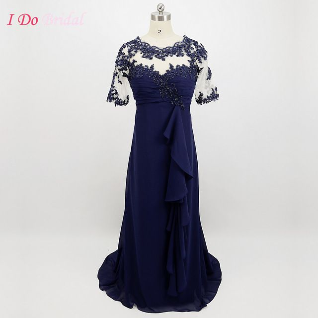 Elegant Navy Blue Mother of the Bride Lace Dress Plus Size Real Pictures Groom Gowns With Sleeves Chiffon Floor Length G66
