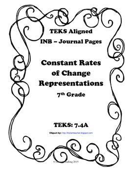 Constant Rates of Change Representations INB TEKS 7.4A