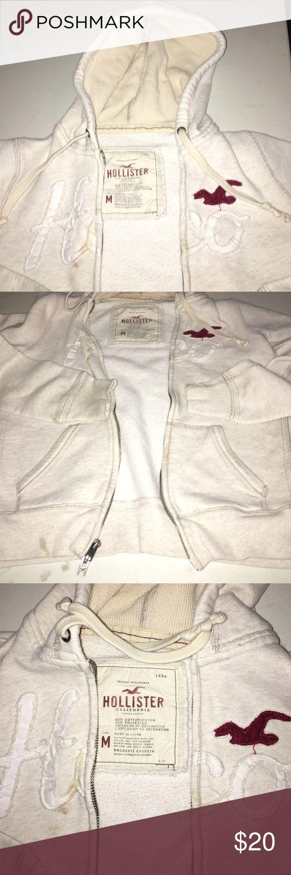 Hoodie Beige zip up hoodie with pockets. Hollister Other