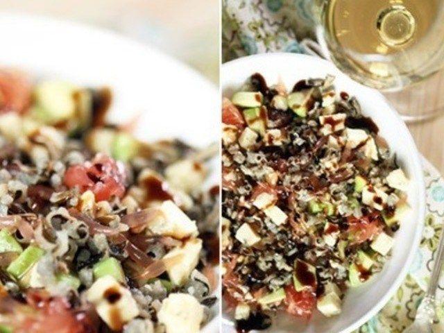 Салат с диким рисом, авокадо, грейпфрутом и сыром http://feedproxy.google.com/~r/anymenu/hMaC/~3/t9HlAN49YxY/  Дикий рис отлично сочетается с фруктами в оригинальных салатах. Для пикантности вкуса добавляют сыр горгонзолу. Однако исключив его, можно получить достаточно интересное постное блюдо. Закусочный соус готовят на основе нескольких ложек оливкового масла, добавляя бальзамический уксус. Из специй используют свежемолотый перец.