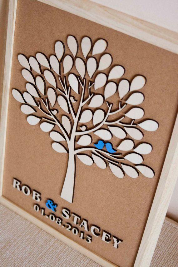 Custom wedding guest book alternative - 3D Wedding Tree guest book - wood rustic wedding guest book - Tree of Life -50 leaves