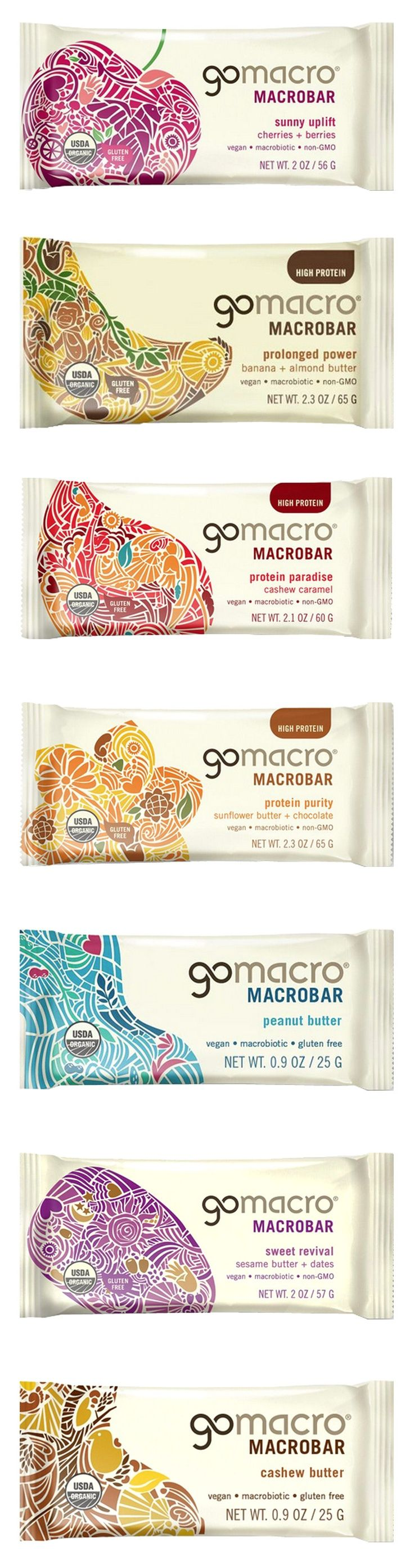 Completed redesign of the GoMacro brand including the brand identity and packaging by Pearlfisher. Great illustrations PD