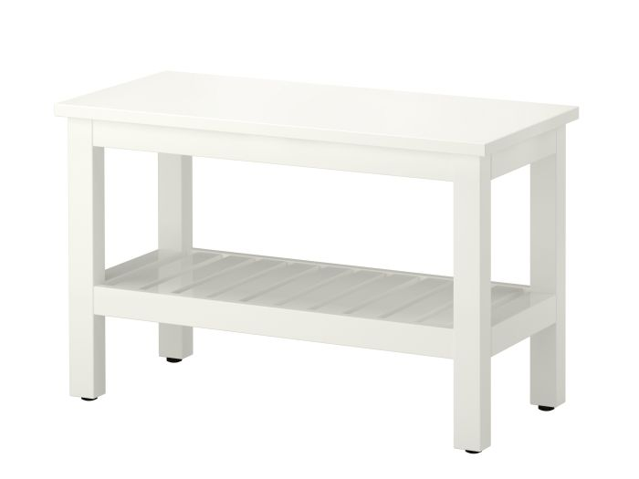 HEMNES bench #IKEA #PinToWin  Nice for a front hall -- store shoes beneath, and still have a space to sit or to prop groceries on the way in.