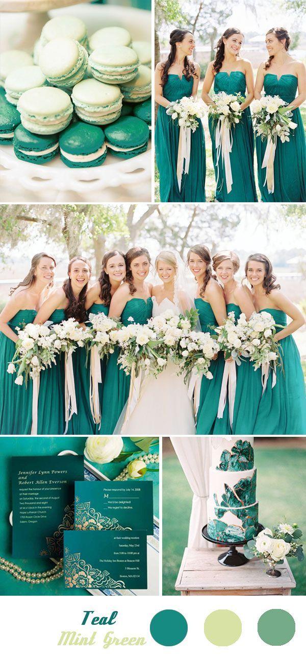 Verde esmeralda con verde menta como paleta para la decoración de tu boda. #BodasVerdeEsmeralda